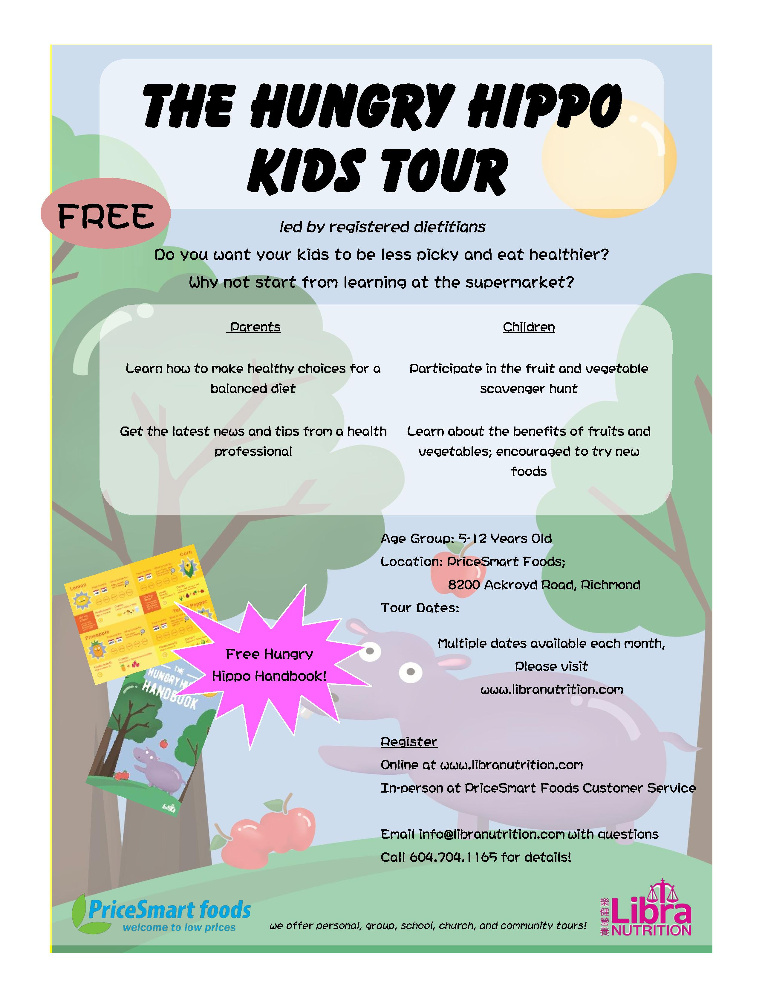 Hungry Hippo Kids Tour Flyer - English